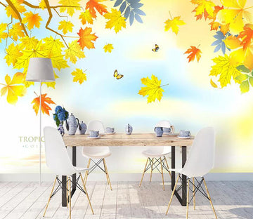 3D Colored Leaves 1120 Wall Murals