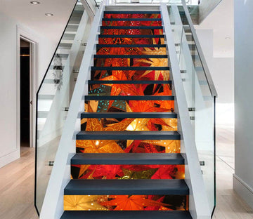 3D Christmas Xmas Shining Leaves 4 Stair Risers Wallpaper AJ Wallpaper