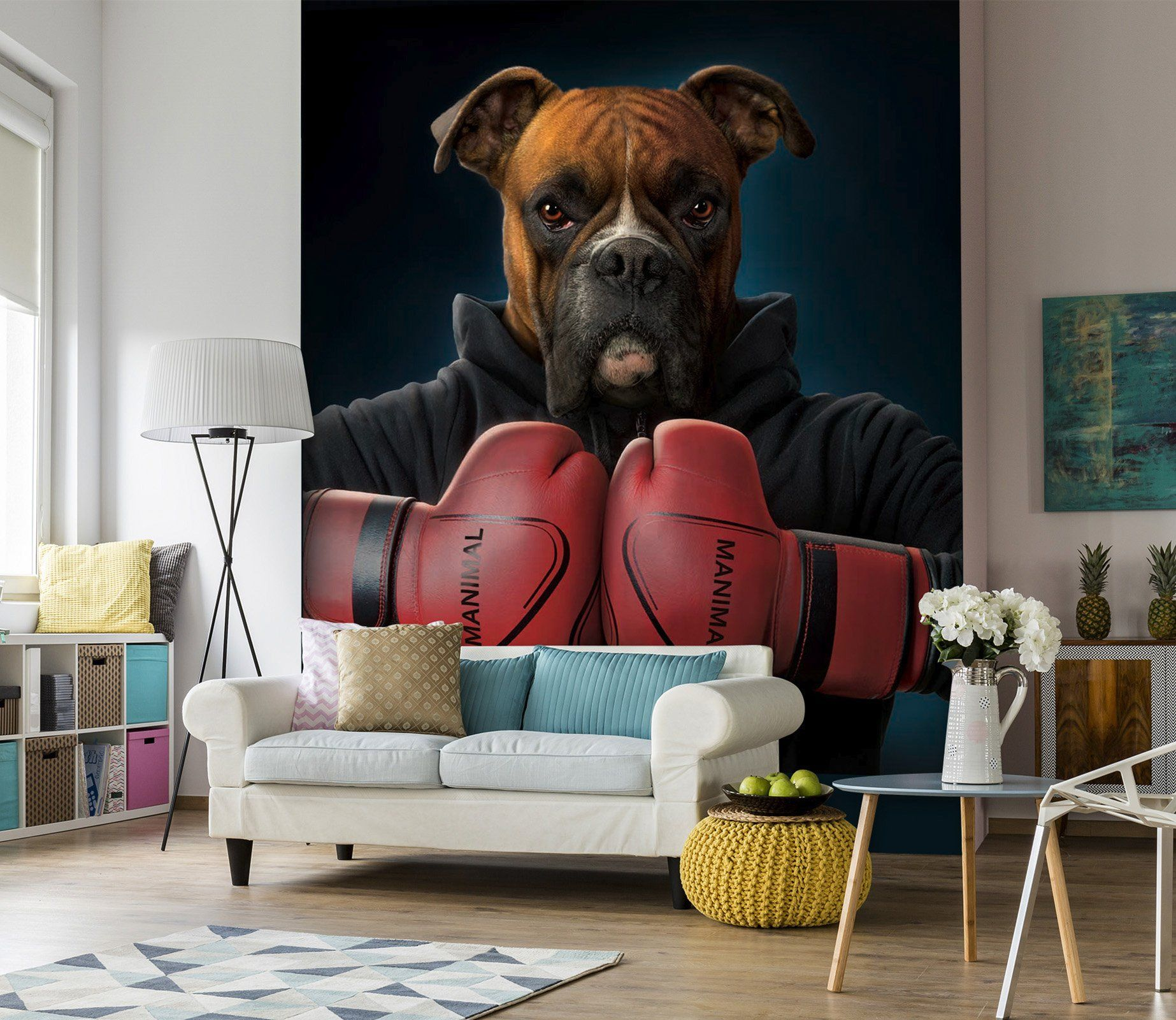 3D Boxing Dog 1415 Wall Murals Exclusive Designer Vincent Wallpaper AJ Wallpaper 2