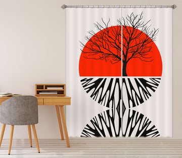 3D Red Sun Pattern 1134 Boris Draschoff Curtain Curtains Drapes