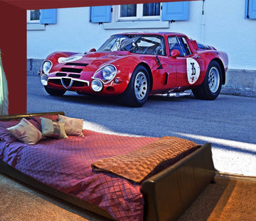3D Alfa Romeo Red 898 Vehicle Wall Murals Wallpaper AJ Wallpaper 2