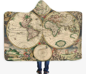 3D Green Round Map 571 Hooded Blanket