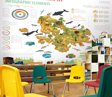 3D Cartoon Animal Map 175 Wall Murals