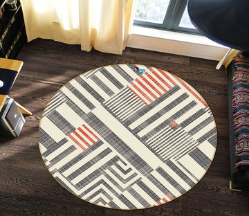 3D Gray Red Stripes 64148 Round Non Slip Rug Mat