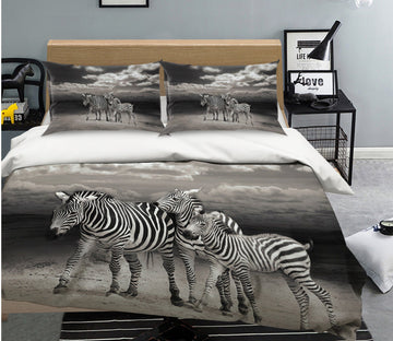 3D Zebra Family 2015 Bed Pillowcases Quilt