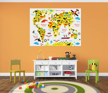 3D Color Pattern 205 World Map Wall Sticker