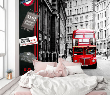3D Red Beautiful Bus 408 Vehicle Wall Murals