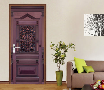 3D Fuchsia Gate 047 Door Mural