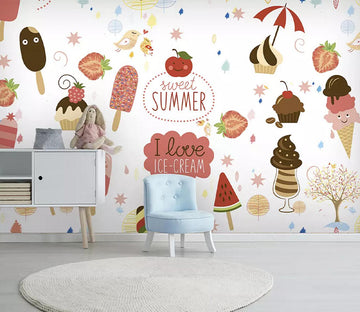 3D Ice Cream Apple WC770 Wall Murals
