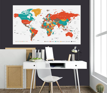 3D Color Patchwork 222 World Map Wall Sticker