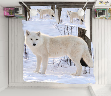 3D Snow White Wolf 21015 Bed Pillowcases Quilt