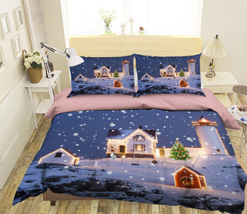 3D Neon Christmas Tree 37 Bed Pillowcases Quilt