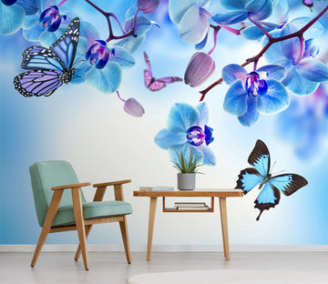 3D Blue Flower Butterfly 398 Wall Murals