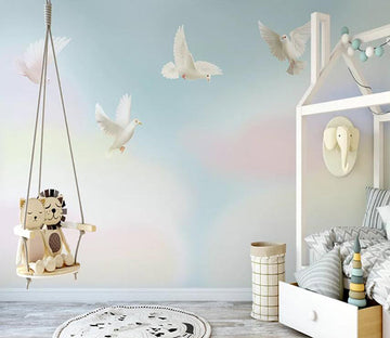 3D Little White Pigeon 1371 Wall Murals