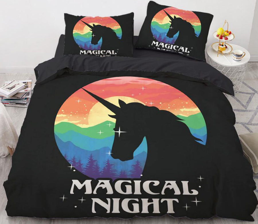 3D Rainbow Unicorn Shadow 8840 Bed Pillowcases Quilt