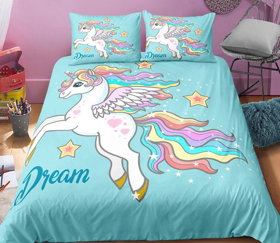 3D Rainbow Unicorn 0022 Bed Pillowcases Quilt