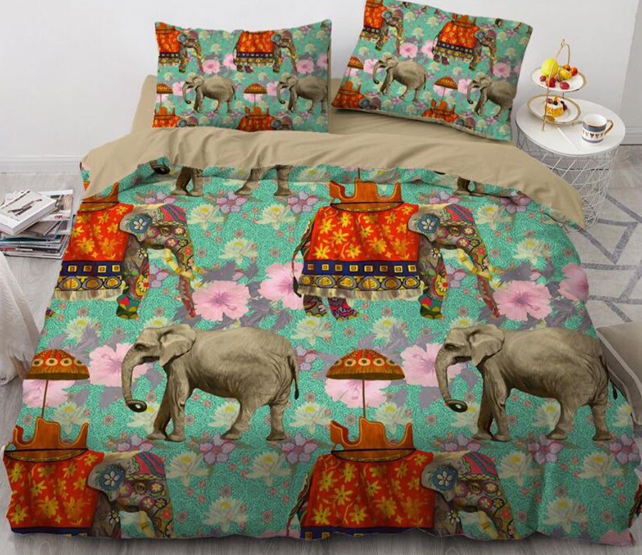 3D Elephant Flower 88188 Bed Pillowcases Quilt
