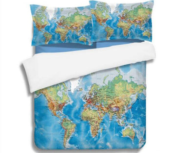 3D  Map 1160 Bed Pillowcases Quilt
