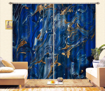 3D Abstract Dark Blue 55 Curtains Drapes Curtains AJ Creativity Home