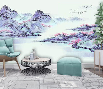 3D Misty Valley 1965 Wall Murals