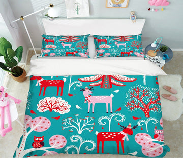 3D Christmas Red Dog 27 Bed Pillowcases Quilt