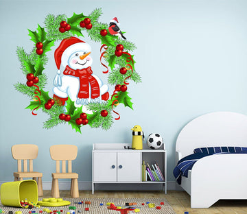 3D Wreath Snowman Hat 31 Wall Stickers Wallpaper AJ Wallpaper
