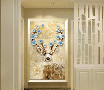 3D Flower Deer WC290 Wall Murals
