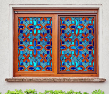 3D Blue Lace 201 Window Film Print Sticker Cling Stained Glass UV Block