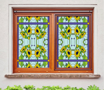 3D Yellow Sunflower 186 Window Film Print Sticker Cling Stained Glass UV Block