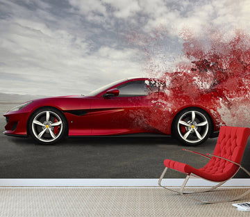 3D Red Sports Car 895 Vehicle Wall Murals