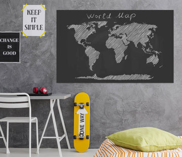 3D Black Painting 232 World Map Wall Sticker