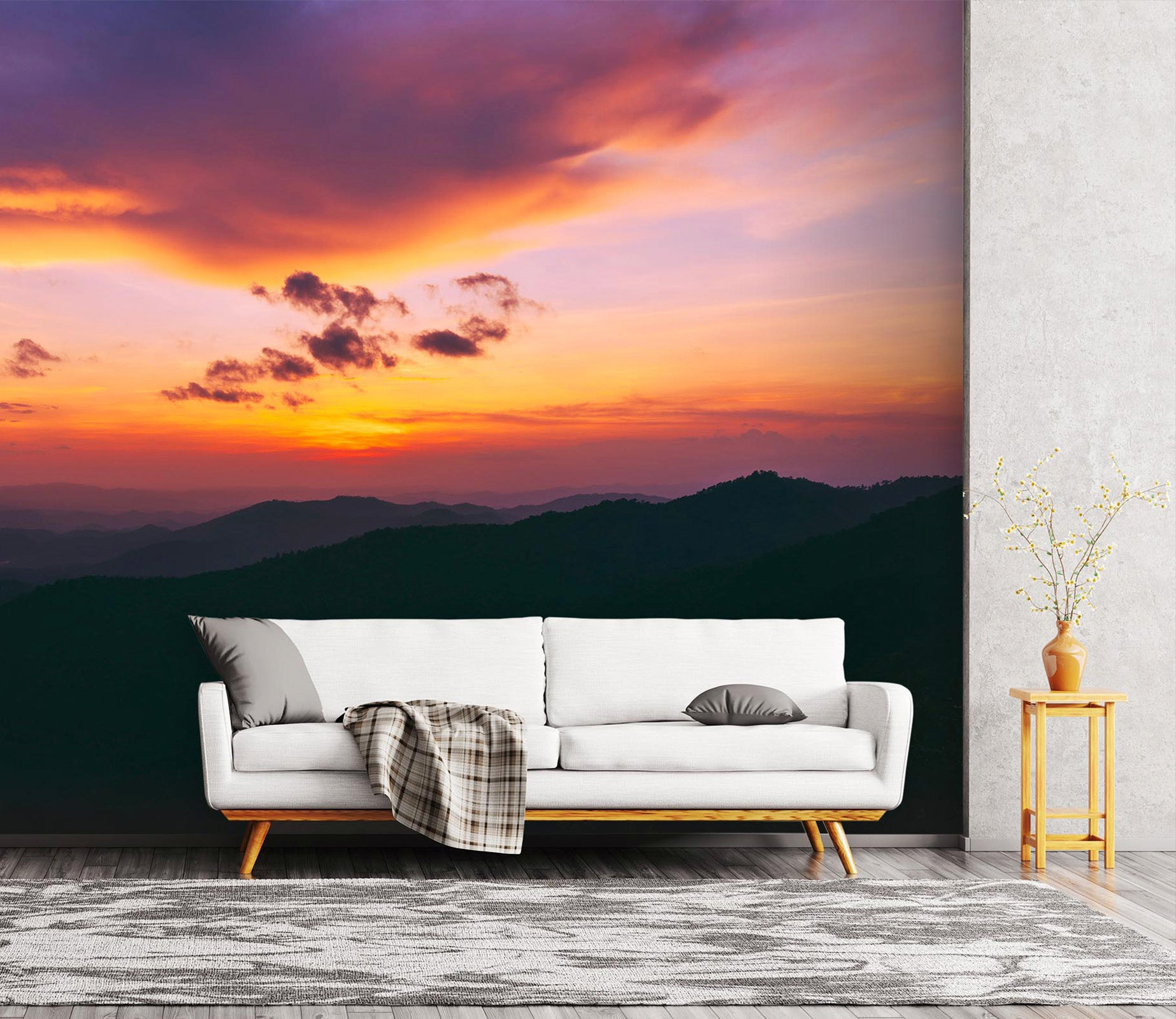 3d Sunset Mountain View 02 Wall Murals Aj Wallpaper