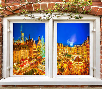 3D City Building 42191 Christmas Window Film Print Sticker Cling Stained Glass Xmas