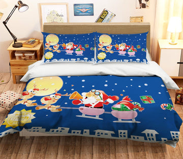 3D Christmas Cartoon Flying 21 Bed Pillowcases Quilt