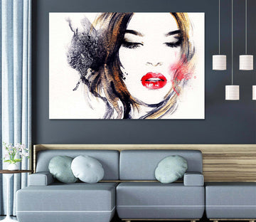 3D Red Lips Woman 1004 Wall Sticker