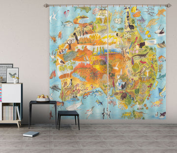 3D Animal Map 042 Michael Sewell Curtain Curtains Drapes