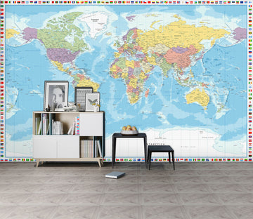 3D Colored Island 2155 World Map Wall Murals