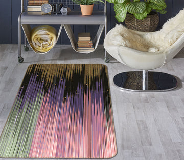 3D Multicolored Stripes 27171 Non Slip Rug Mat