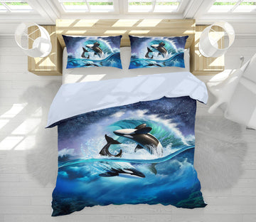 3D AOrca Wave 2128 Jerry LoFaro bedding Bed Pillowcases Quilt Quiet Covers AJ Creativity Home