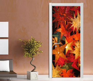 3D Christmas Xmas Bright Leaves 4 Door Mural