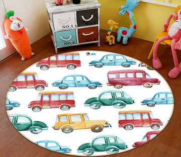 3D Color Car 64139 Round Non Slip Rug Mat