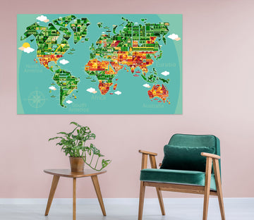 3D Color Island 220 World Map Wall Sticker