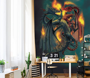 3D Fire Dragon 1422 Wall Murals Exclusive Designer Vincent