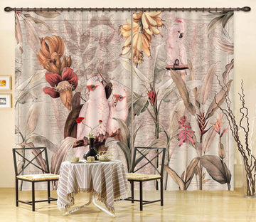 3D Banana Parrot 205 Uta Naumann Curtain Curtains Drapes