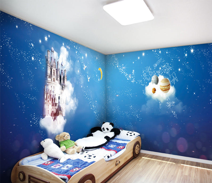 3D White Cloud Moon WC030 Wall Murals
