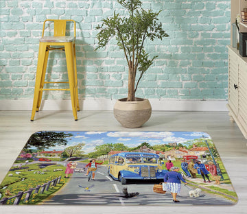 3D The Village Bus Stop 1122 Trevor Mitchell Rug Non Slip Rug Mat