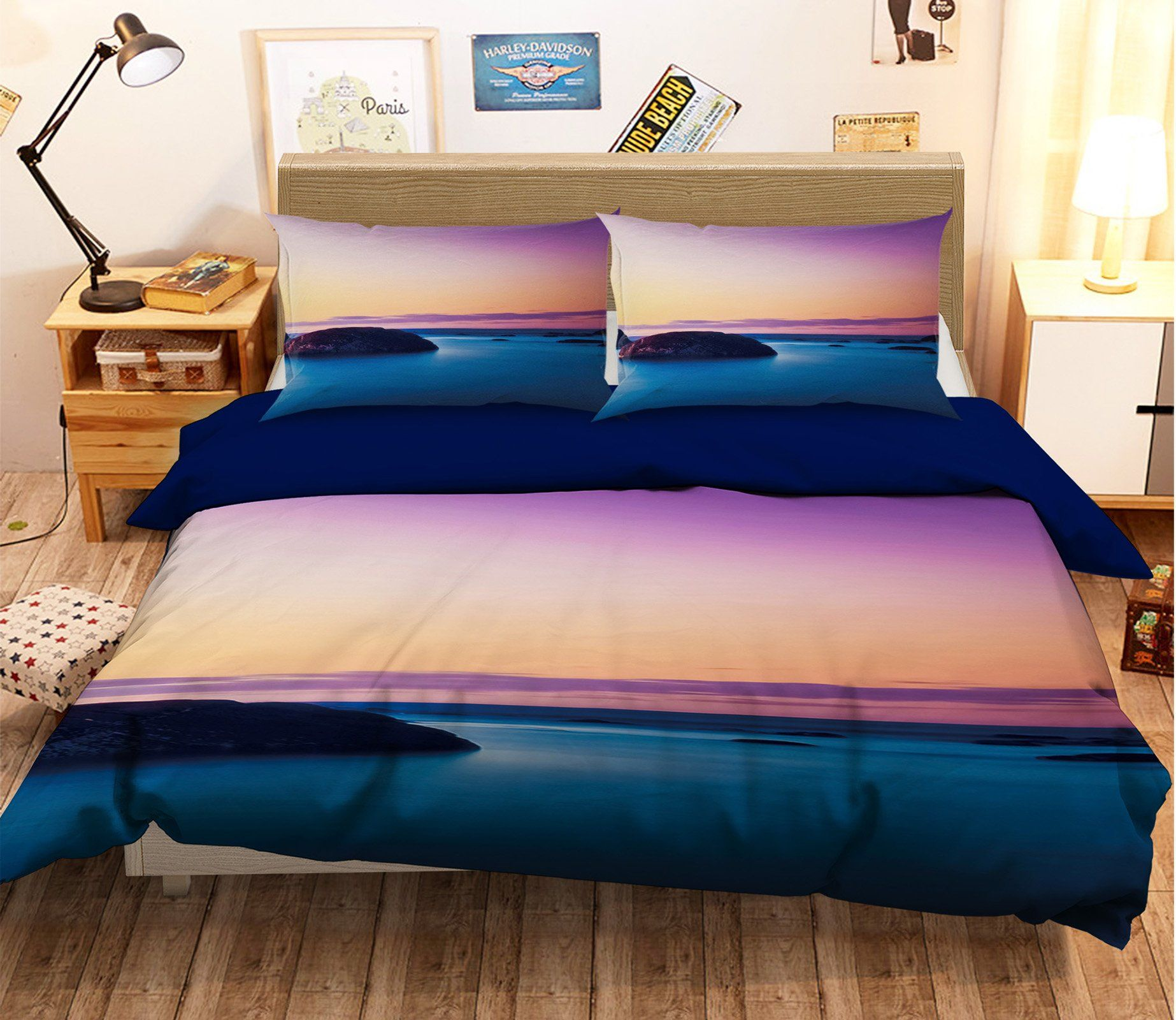 3D Sea Level Line Stone 093 Bed Pillowcases Quilt
