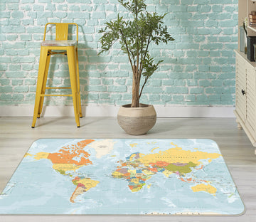3D Color Clouds 271 World Map Non Slip Rug Mat