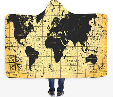 3D Black World Map 334 Hooded Blanket