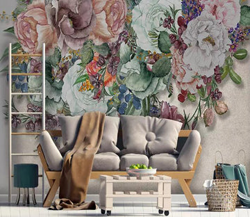 3D Flower Butterfly 1244 Wall Murals
